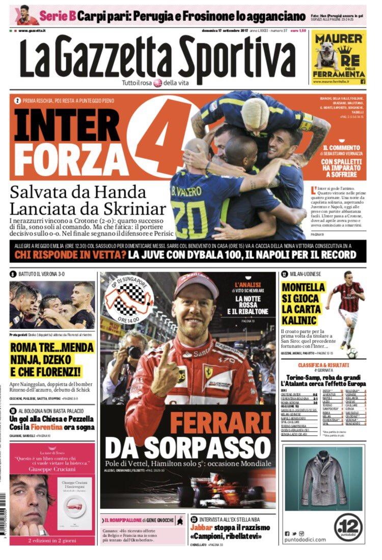 I giornali sportivi di oggi #17settembre