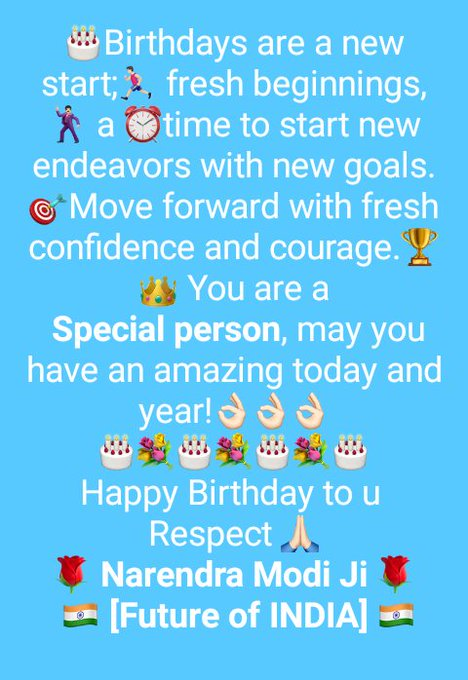 Happy Birthday to u  Respect  *Narendra Modi Ji*   *[Future of INDIA]*