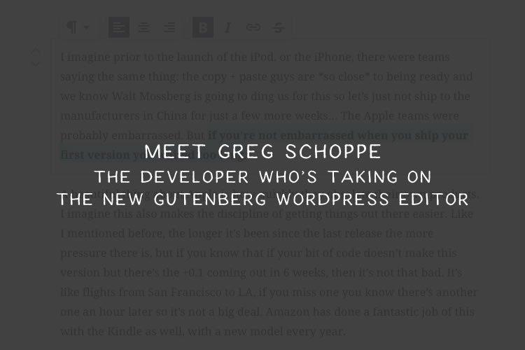 Meet Greg Schoppe: The Developer Who's Taking on Gutenberg https://t.co/WC8XEJ89ji #WordPress https://t.co/vFQV7lVovL