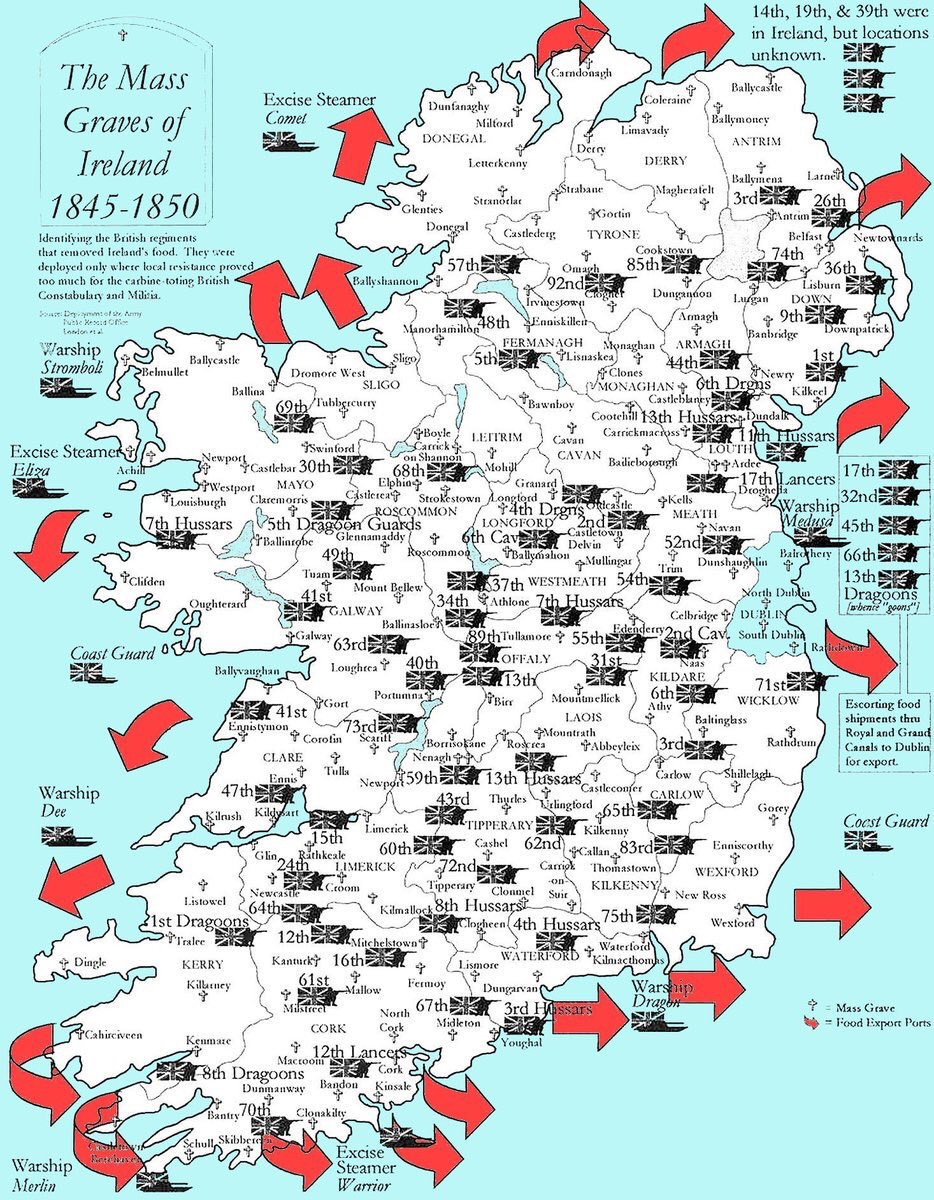 Map of food taken by British Army regiments during the Irish famine 1845-50 [934 x 1200]