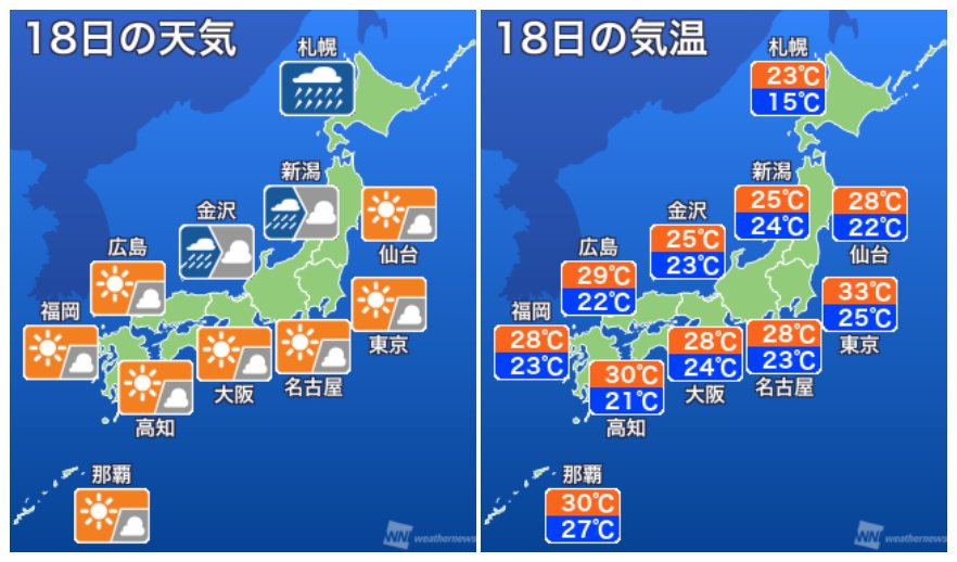 【明日の天気】九州や四国を直撃した台風18号が、明日18日(月)は北日本に接近。暴風雨、高波、高潮、…