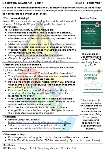 Even better now.... Year 9 Newsletter (done for all years) to support parents support us! #geographyteacher <br>http://pic.twitter.com/JBu1OMQL1t