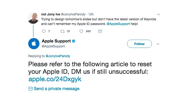 Apple Support gave the dumbest reply to a Jony Ive parody account https://t.co/34ExOA5M4i #AppleEvent