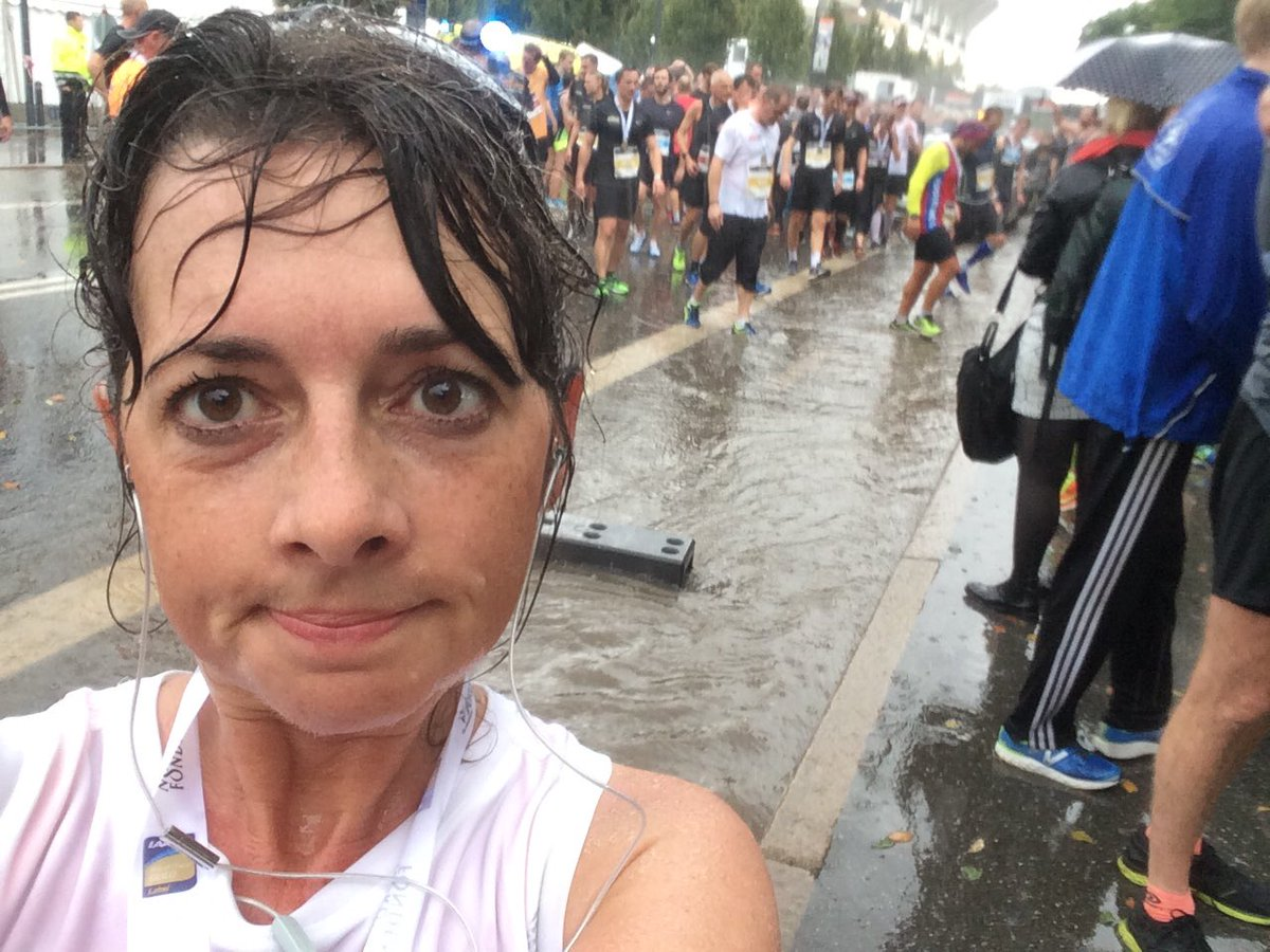 Wet me after the flood at the finish line at the CPH half marathon