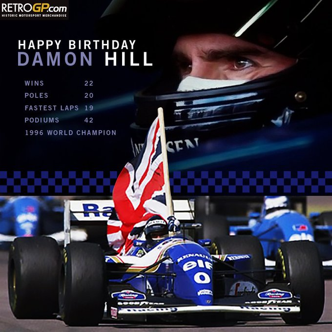 Happy Birthday to 96 World Champ Damon Hill 57 but has to work today at Poor thing!
