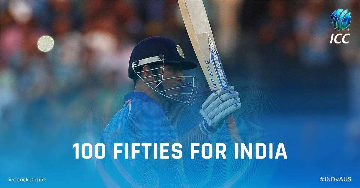 Congratulations, @msdhoni! He has become the fourth Indian player to hit 100 international fifties. #INDvAUS