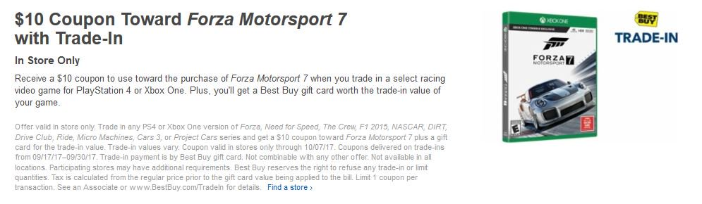 Cheap Ass Gamer On Twitter 10 Coupon Toward Forza Motorsport 7 With Trade In Via Best Buy Https T Co Fvq4ptqhhz