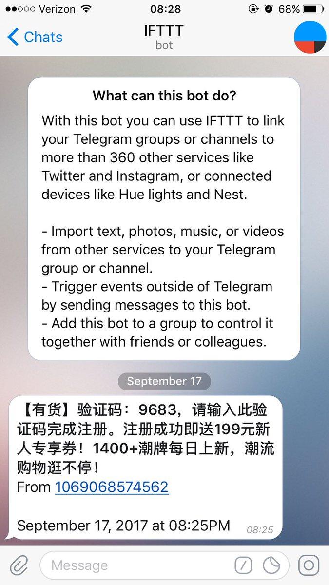 备用手机收国内短信 > 触发 IFTTT > 转发短信到 Telegram > 主力手机收到国内短信。以后不必为了接受注册验证码,特意离开座位去拿备用手机了。为了提高工作效率,宁可久坐早死三年的生活方式 #人森的恶意 https://t.co/i7qkYUnnJT 1