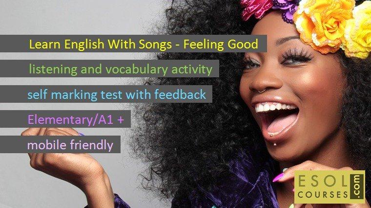 Learn English with Songs - Feeling Good https://t.co/l5wJ7v9Dmb #esl #efl #edtech #flippedclass #mlearning https://t.co/BqFKtth4Wh