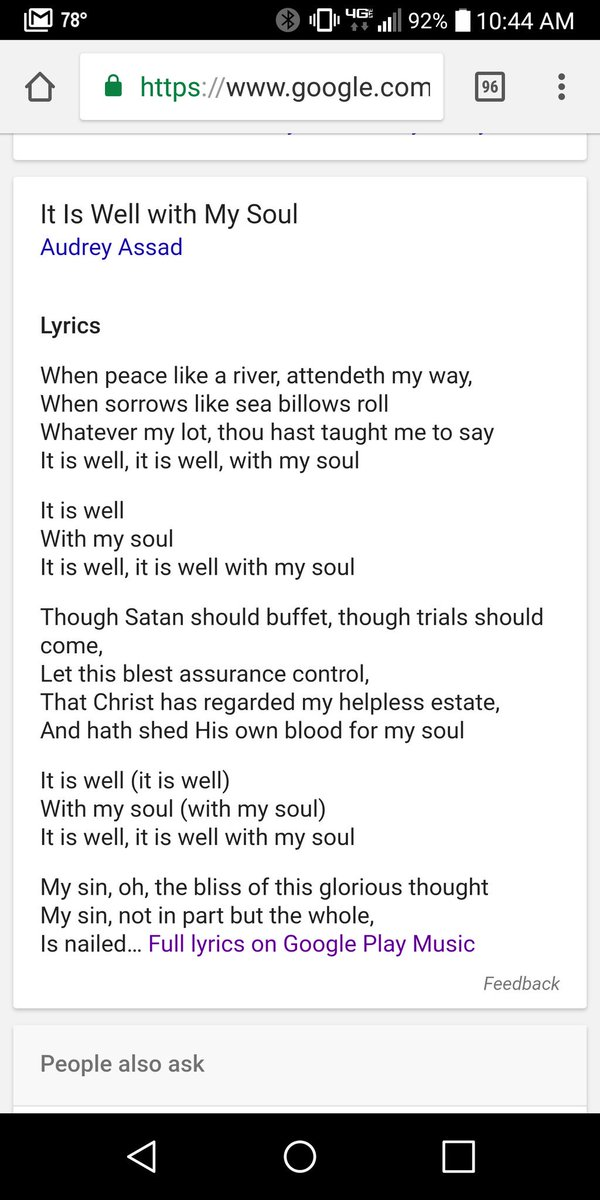 Lyric it is well with my soul lyrics hillsong : HoratioSpafford - Twitter Search