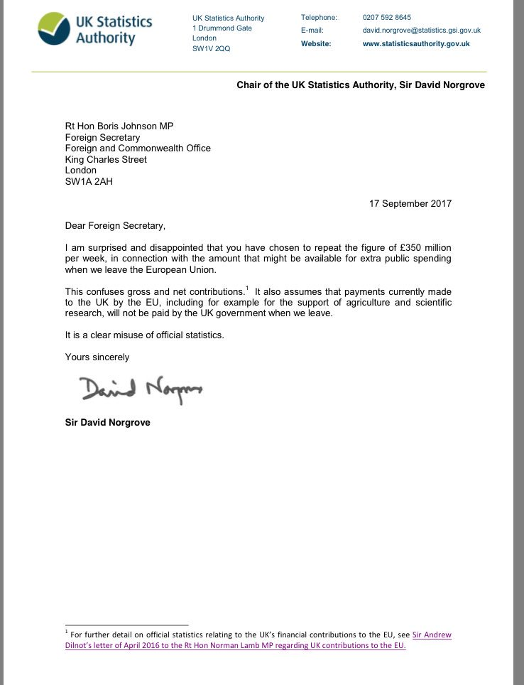 Chair of @UKStatsAuth writes to @BorisJohnson to express 'surprise and disappointment' at his 'clear misuse of official statistics' re £350m