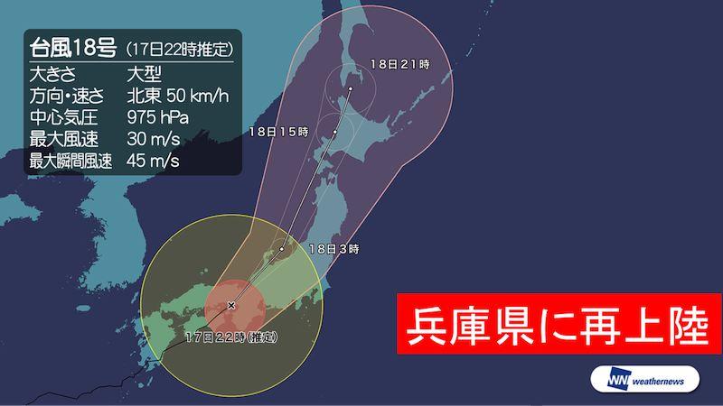 大型の台風18号は、17日22時ごろ兵庫県明石市付近に再上陸しました。台風はこのあとも暴風域を伴った…