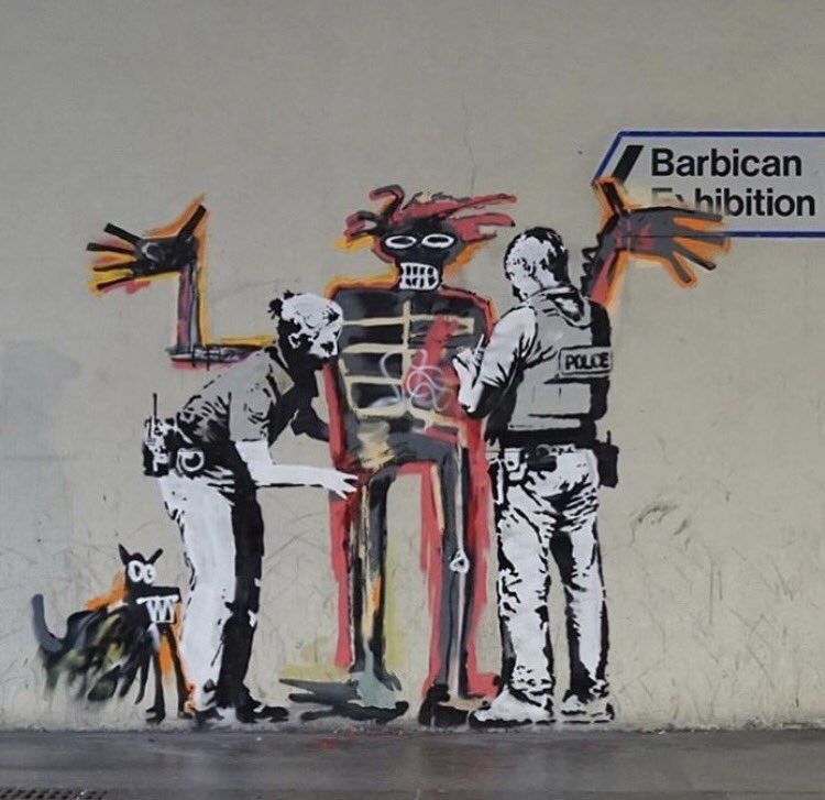In London #Banksy pays homage to #basquiat @streetartaddict @thereaIbanksy