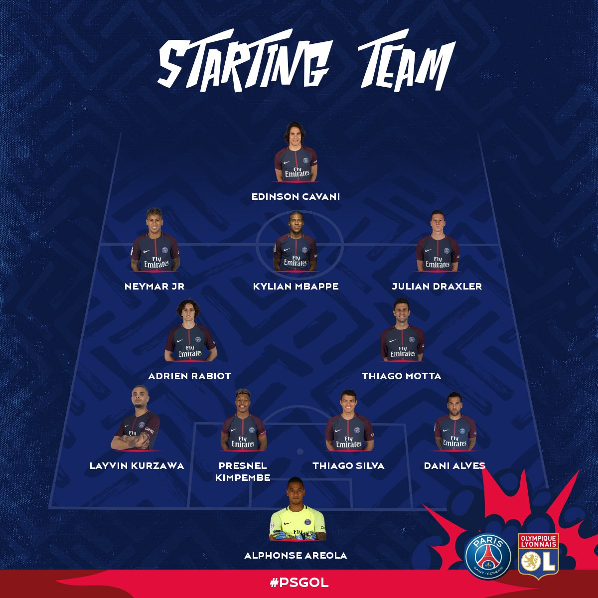 """Psg: PSG English On Twitter: """"LINEUP CONFIRMED: Here's PSG's"""