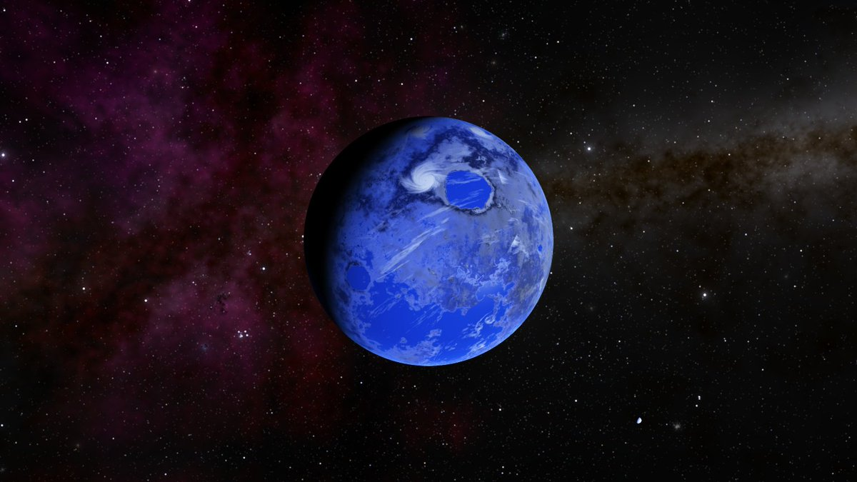 Here is an #Earth -like #exoplanet with a #nebula and the #milkyway in the distance.  From my #spacetravel in @SpaceEngineSim .  #universe<br>http://pic.twitter.com/rnqTbHLhBp