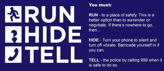 Terror threat level&#39;s been reduced from critical back to severe Remain observant #Run  #Hide  #Tell  K <br>http://pic.twitter.com/WYOK8qrvau
