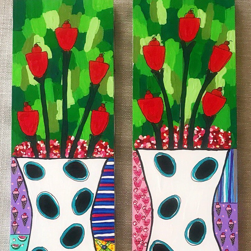 Red Posies on #salvagedwood. I love #painting on #repurposed things. #CreativeReuse #Artist #Art #Colorful #EcoArt<br>http://pic.twitter.com/Dq0RW7xqc7