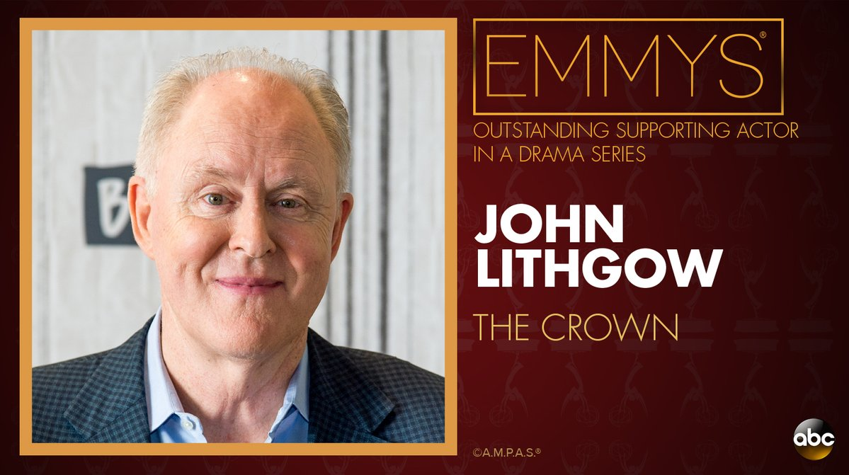 NEW: #Emmys Outstanding Supporting Actor in a Drama Series: John Lithgow - 'The Crown' https://t.co/NlP9l1rxA0 https://t.co/zr2yTY9xu6