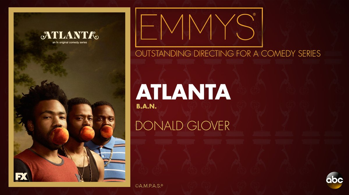 NEW: #Emmys Outstanding Director for a Comedy Series: Donald Glover - 'Atlanta' https://t.co/TSaXZNsOdN https://t.co/Cr1KI3h7WP