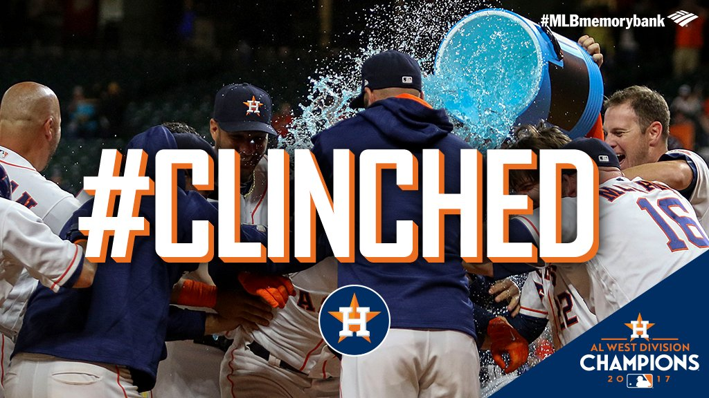 The @Astros run the wild west.  For the first time in franchise history, they are AL West champions. #CLINCHED