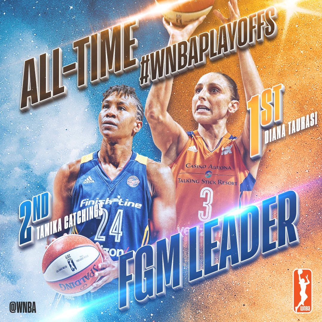 Congrats to @DianaTaurasi, who passes @Catchin24 as the #WNBAPlayoffs ALL-TIME leader in FG made! #WatchMeWork