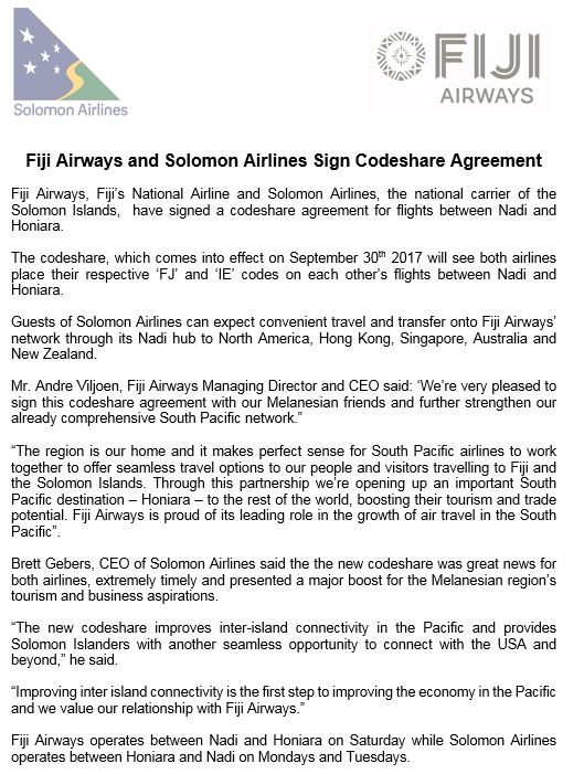 Fiji Airways On Twitter Weve Just Signed A Codeshare Agreement