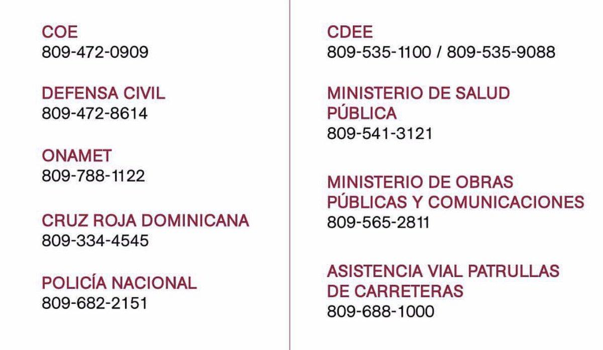 Aqui los teléfonos de emergencias. Anotarlos en algun lugar y tenerlos a mano. #HuracanIrma https://t.co/VKSLH1dpIv