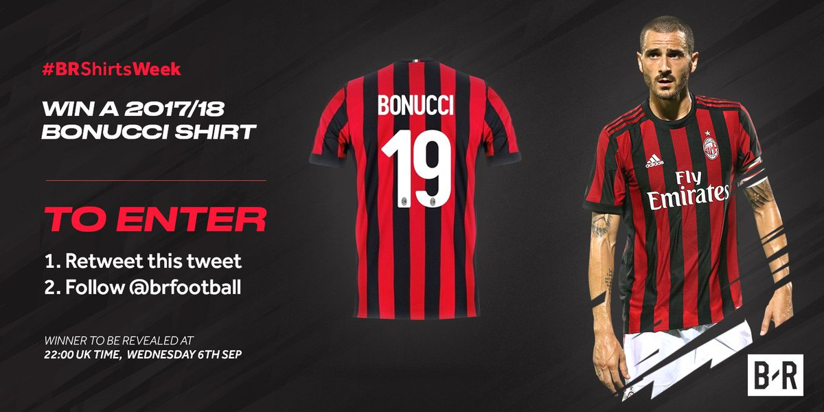 WIN! We are giving away a 2017/18 Bonucci shirt today! To enter: —RT this tweet —Make sure you follow @br_uk  Good luck! #BRShirtsWeek