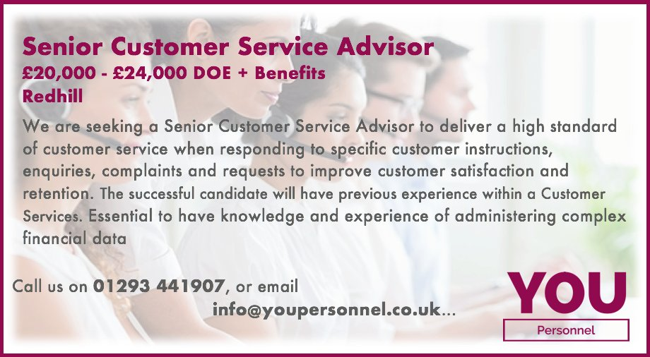 senior customer service advisor job description