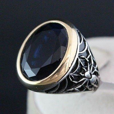 кольца с сапфиром с серебра фото