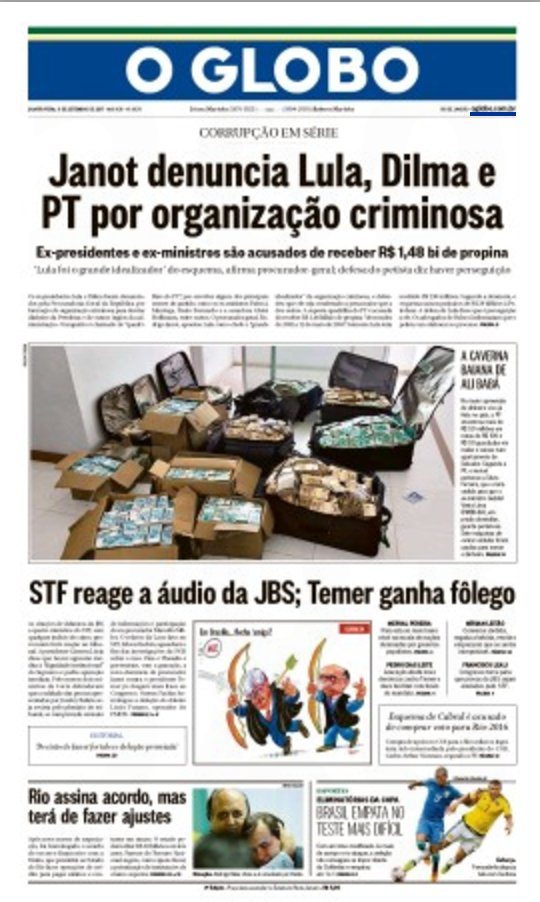 Exemplo de Jornalismo de Guerra e manipulação rasteira: capa @JornalOGlobo. Montagem: mala de $ Geddel e manchete Dilma e @LulapeloBrasil.