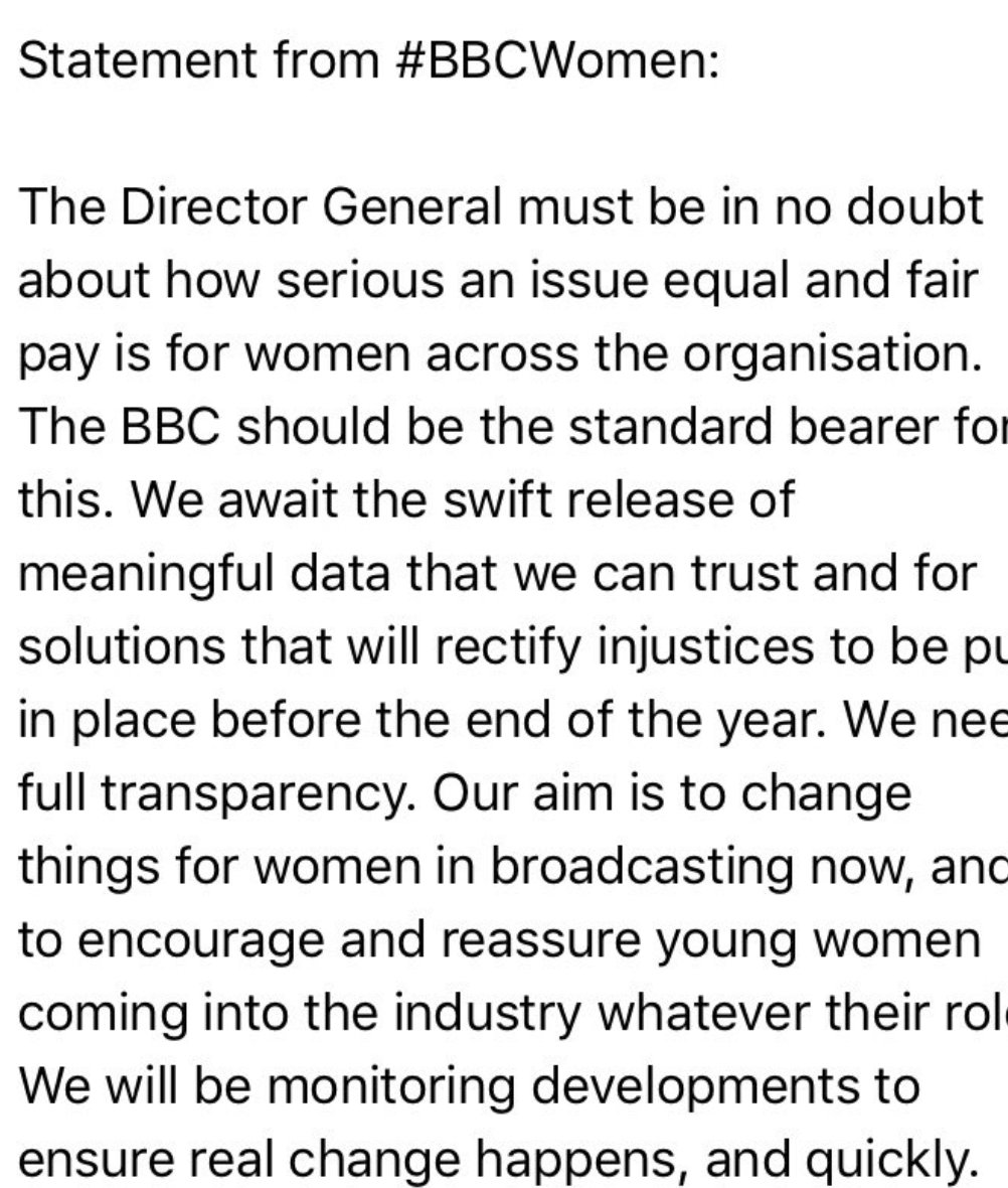 Statement from #BBCwomen. Please RT.