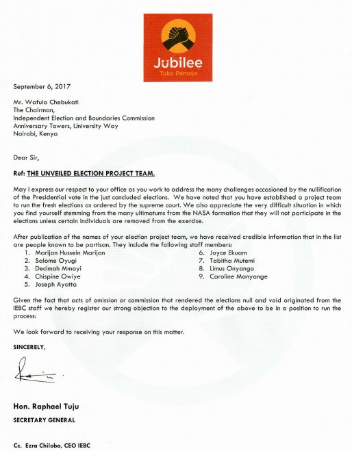 Jubilee writes to Chebukati objecting appointment of 9 officials to oversee fresh polls including project leader Marjan over alleged bias.
