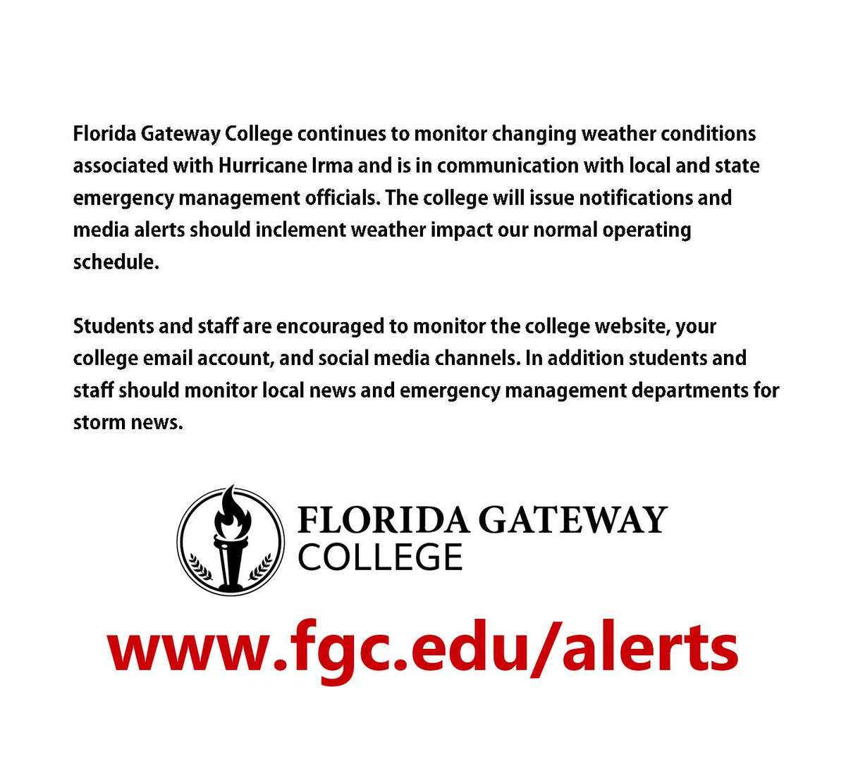 Florida gateway on twitter fgc continues to monitor weather florida gateway on twitter fgc continues to monitor weather conditions associated with hurricane irma see statement below and stay tuned to publicscrutiny Image collections