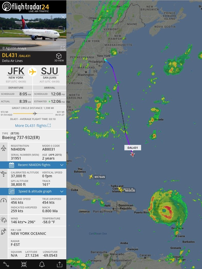 You really want to fly into SJU during a category 5 hurricane, DL431?  Everyone else has turned around. https://t.co/nHdChvYh2Y