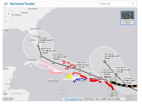 #HurricaneIrma pounds Caribbean islands, approaches US mainland. See its forecast path with AP's live tracker: https://t.co/fp8XGsHXl2