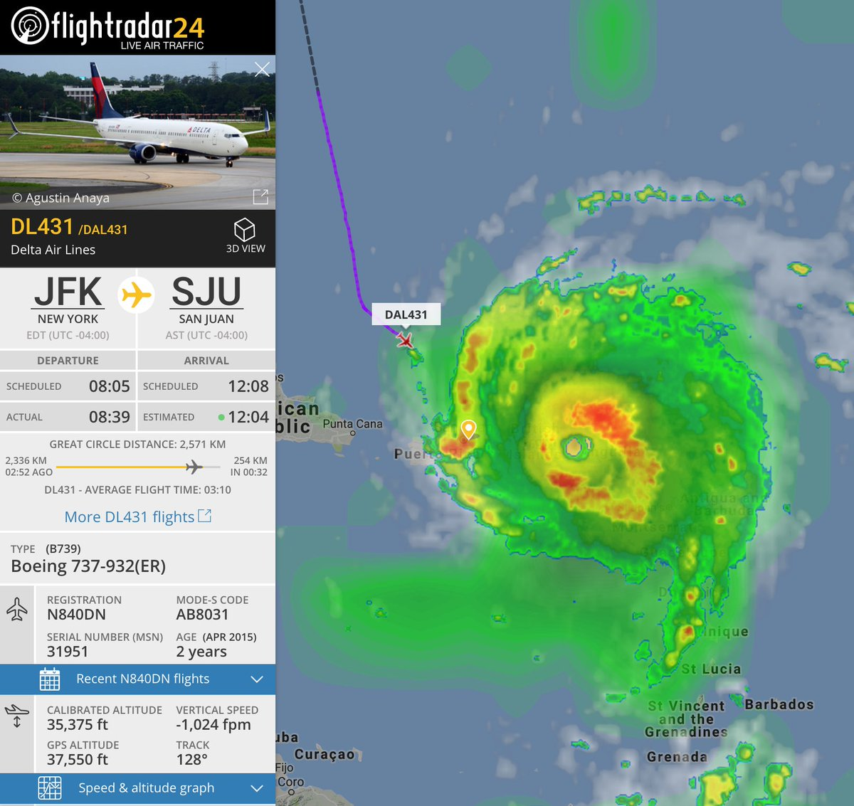Where others have turned back, Delta #DL431 presses on. #Irma  📡 https://t.co/XN6E2TcXUN