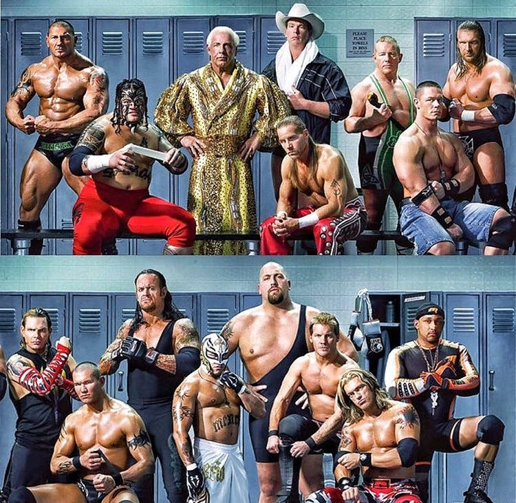 WWE wrestling Legends all in one photo