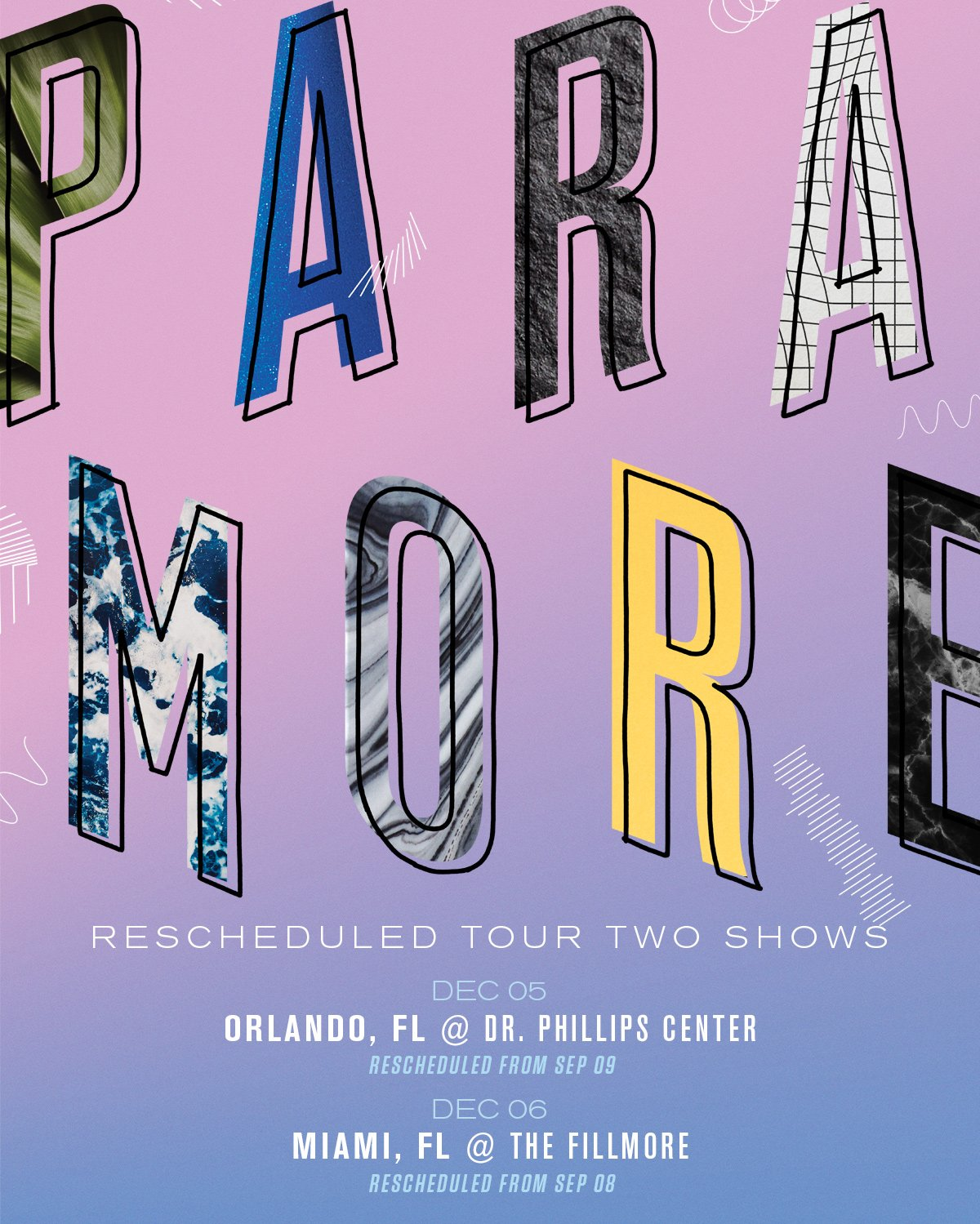 UPDATE: @paramore's Miami & Orlando shows have been rescheduled to December. https://t.co/AORKk118Lx   stay safe FL! https://t.co/nys66a042H