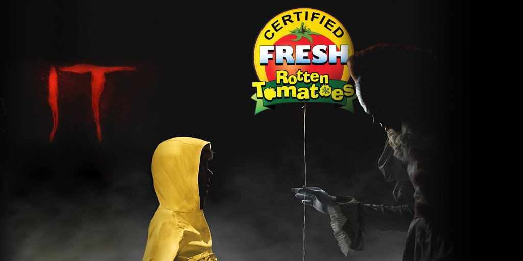 #ITMovie🎈 is now #CertifiedFresh at 90% on the #Tomatometer 🍅https://t.co/dTIsndVJYH