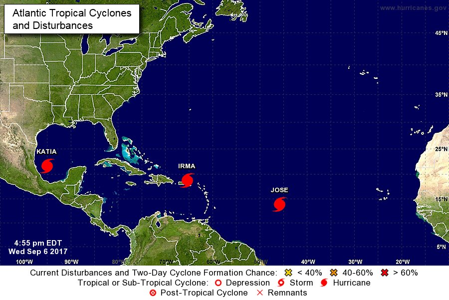 LATEST: There are currently 3 active hurricanes in the Atlantic -- #Irma, #Jose and #Katia. https://t.co/LS44HYSWMn