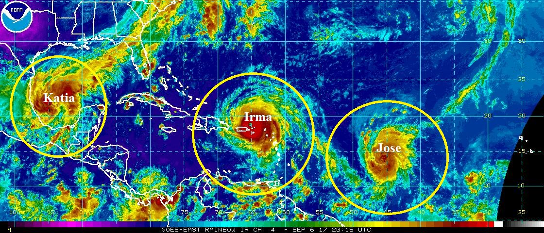 JUST IN: 3 hurricanes now active in the Atlantic basin: #Irma, #Jose and #Katia.