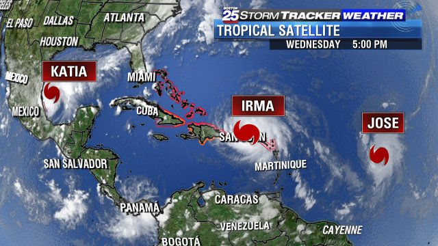 First time since 2010 we've had 3 hurricanes in the Atlantic at the same time. Tracking them all @boston25 https://t.co/LsuiO1xZPh