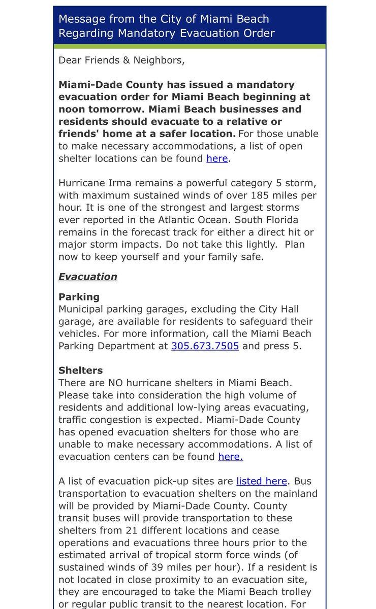 City Of Miami Beach On Twitter Message From Mayorlevine Citymanagermb Regarding Hurricaneirma The Https T Co Mu48zs0xgj