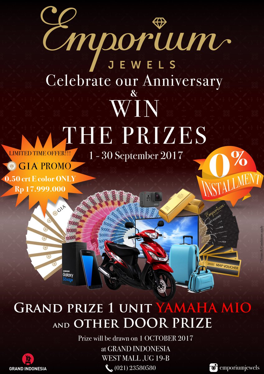 Grand Indonesia On Twitter Emporium Jewels Anniversary Promotion Map Vocher 50000 Collect 2 Coupon For Minimum 10 Millions Transaction And Win The Prizes