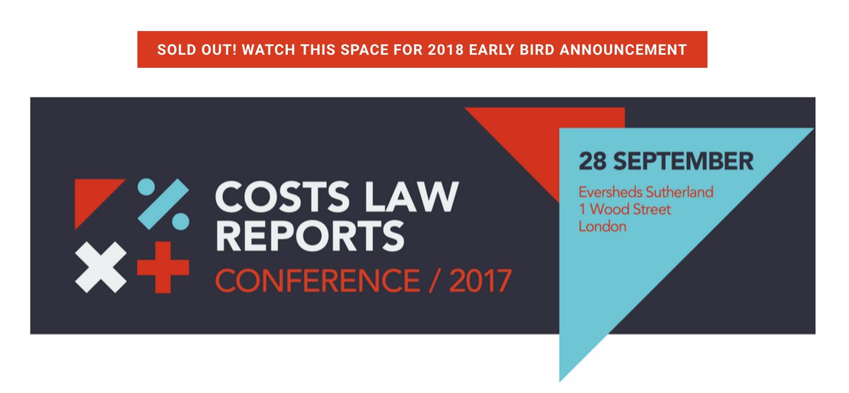 Our 2017 #CLRConf has SOLD OUT! Keep your &#39;s peeled for our 2018 early bird announcement!   #CostsLaw #Costs #Law<br>http://pic.twitter.com/gBItlRN3Oi