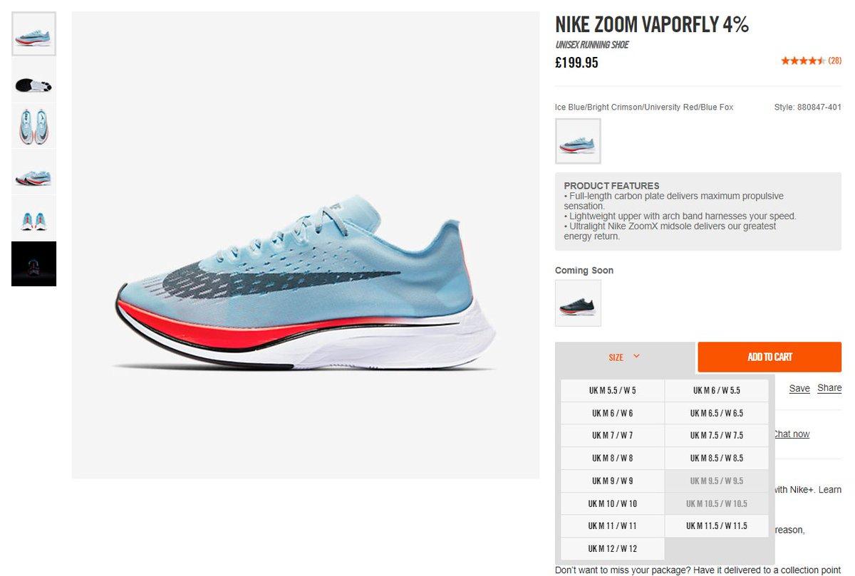 22f3374e7c2cc  RESTOCK via Nike EU Nike Zoom Vaporfly 4%  Ice Blue   UK http   tinyurl.com yaawsko3 FR http   tinyurl.com y99ql97e  DE http   tinyurl.com ybswfmqp ...
