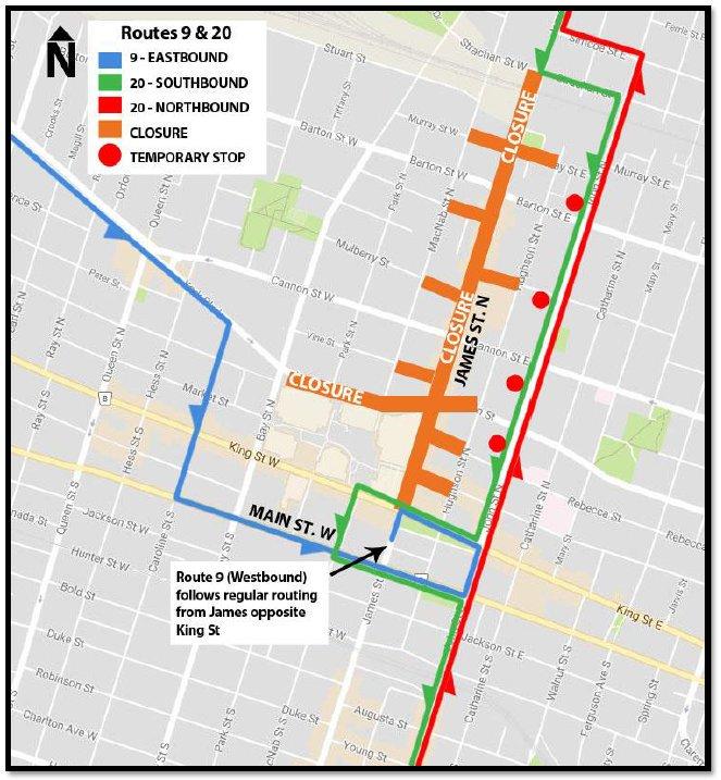 Hamilton Transit on Twitter Routes 234678920 are detoured
