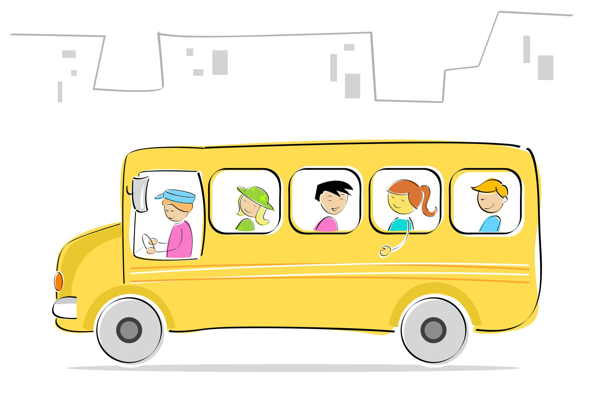 картинка автобус с флажками едет по улице враги счастья
