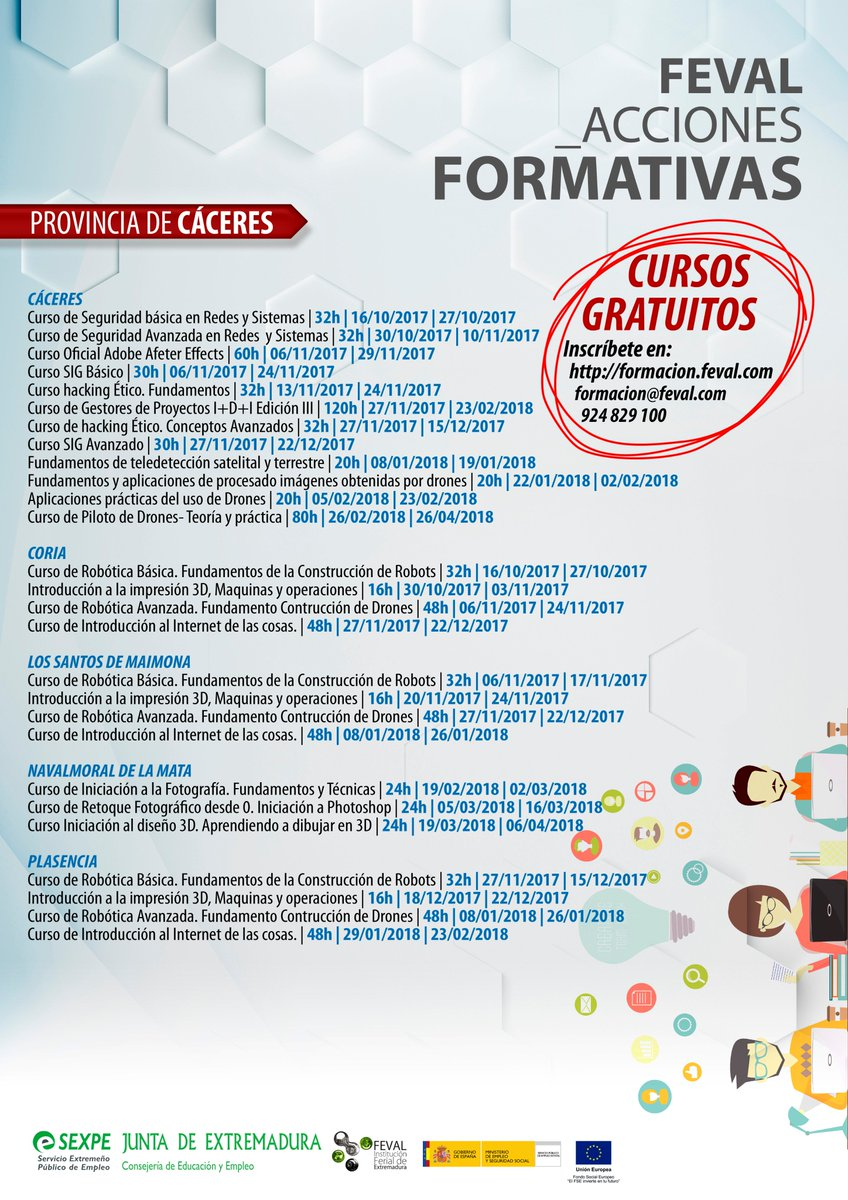 Feval On Twitter Provincia Caceres Cursos Gratuitos Trabajadores Y Desempleados Sexpe Info E Inscripciones Https T Co Og6d8ft6gc